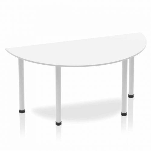 Impulse Semi-circle Table 1600 White Post Leg Silver