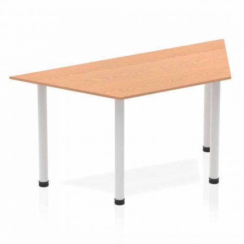 Impulse Trapezium Table 1600 Oak Post Leg Silver