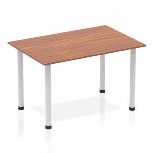 Impulse Straight Table 1200 Walnut Post Leg Silver