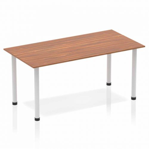 Impulse Straight Table 1600 Walnut Post Leg Silver