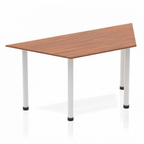 Impulse Trapezium Table 1600 Walnut Post Leg Silver