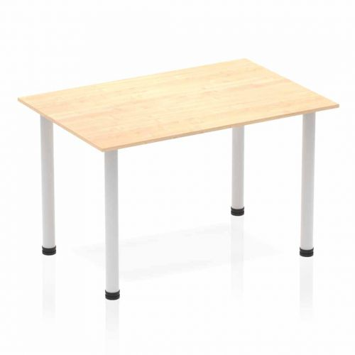 Impulse Straight Table 1200 Maple Post Leg Silver
