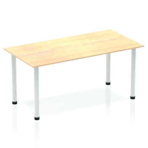 Impulse Straight Table 1400 Maple Post Leg Silver