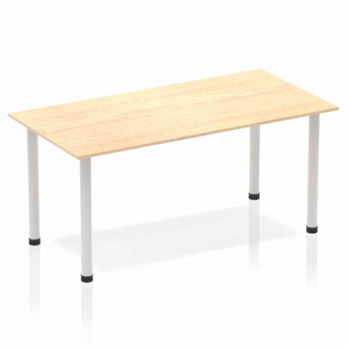 Impulse Straight Table 1600 Maple Post Leg Silver