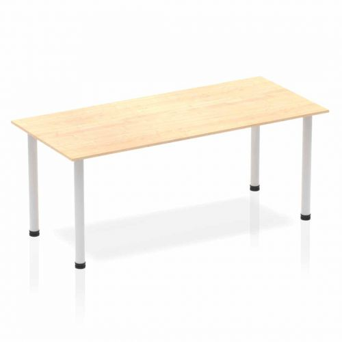 Impulse Straight Table 1800 Maple Post Leg Silver