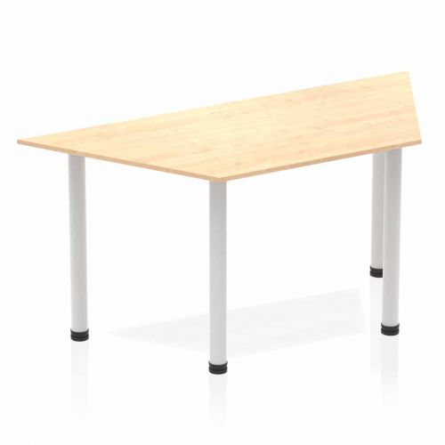 Impulse Trapezium Table 1600 Maple Post Leg Silver