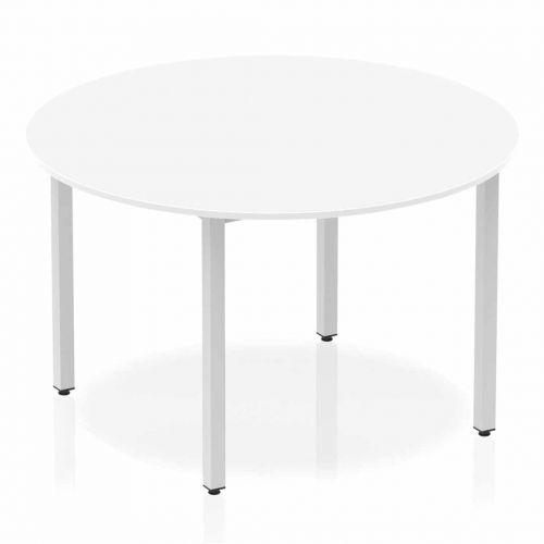 Impulse Circle Table 1200 White Box Frame Leg Silver