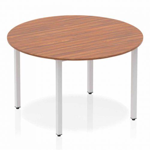 Impulse Circle Table 1200 Walnut Box Frame Leg Silver
