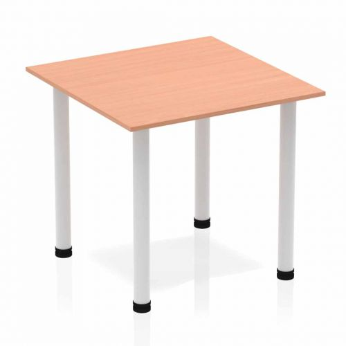 Impulse 800mm Square Table Beech Top Silver Post Leg BF00201