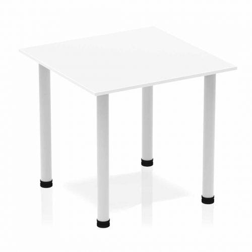 Impulse Square Table 800 White Post Leg Silver