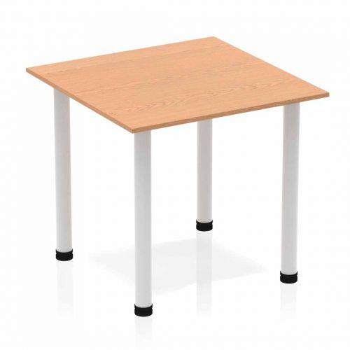 Impulse 800mm Square Table Oak Top Silver Post Leg BF00205