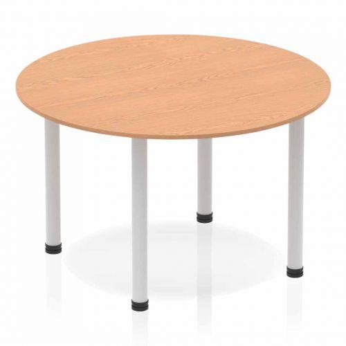 Impulse Circle Table 1200 Oak Post Leg Silver