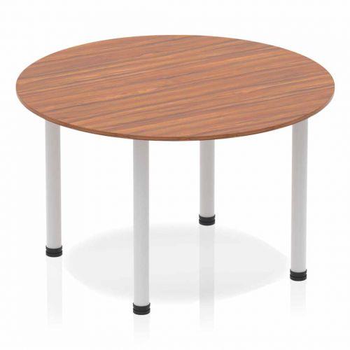 Impulse Circle Table 1200 Walnut Post Leg Silver