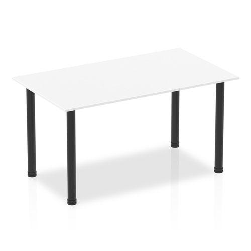 Impulse 1400mm Straight Table White Top Black Post Leg