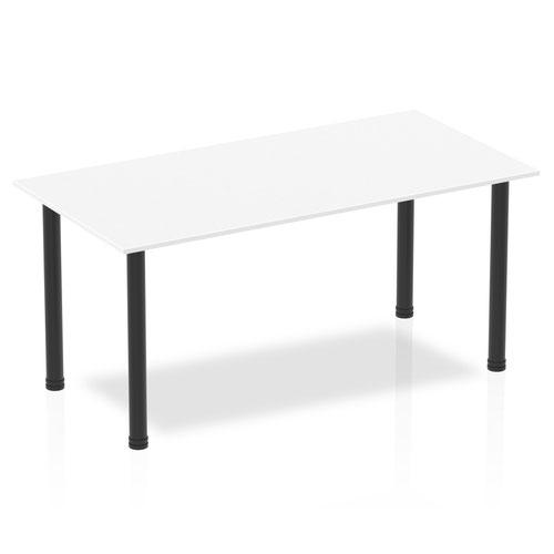Impulse 1600mm Straight Table White Top Black Post Leg