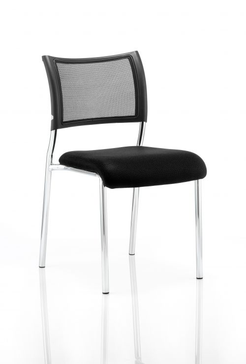Brunswick Visitor Chair Black Fabric Chrome Frame