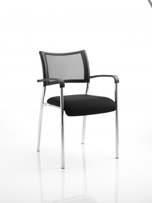 Brunswick Visitor Chair Black Fabric With Arms Chrome Frame