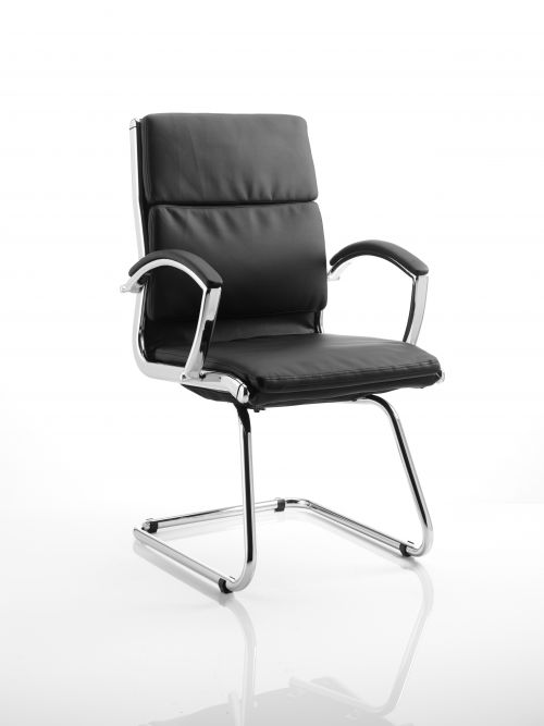 Classic Leather Cantilever Chair Black With Arms