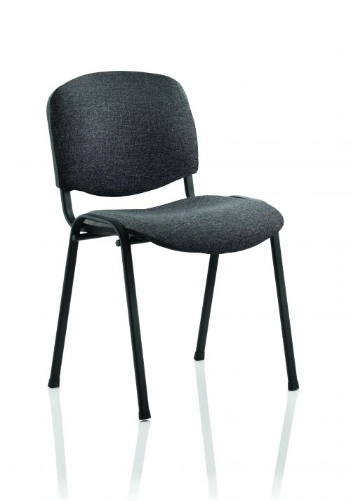 ISO Stacking Chair Charcoal Fabric Black Frame BR000059