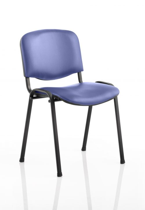 ISO Stacking Chair Blue Vinyl Black Frame Without Arms