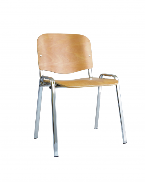 ISO Stacking Chair Beech Chrome Frame Without Arms