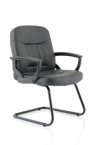Hague Cantilever Chair Black Leather With Arms BR000150