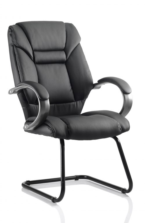 Galloway Cantilever Chair Black Leather With Arms