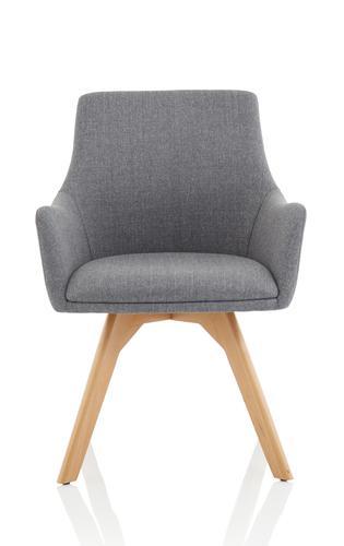 Carmen Grey Fabric Wooden Leg Chair BR000224