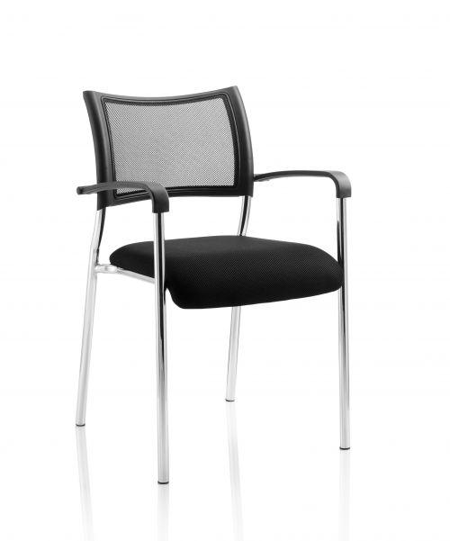 Brunswick Visitor Chair Black Fabric wArms Chrome Frame