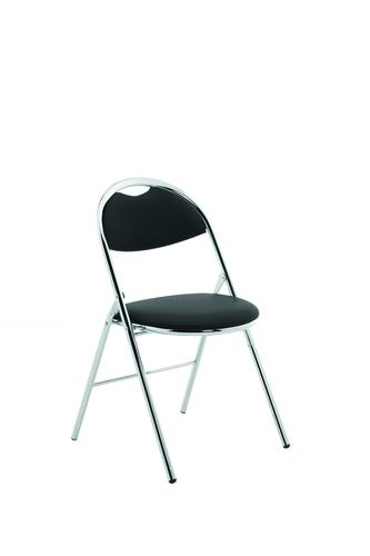Milan Folding Chair Black Vinyl Chrome Frame BR000304