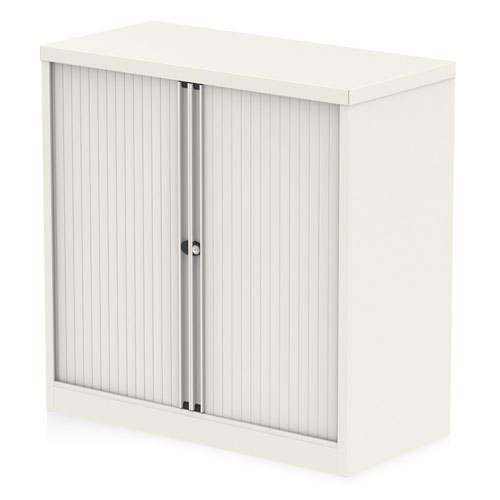 Qube by Bisley 1000mm Side Tambour Cupboard Chalk White No Shelves
