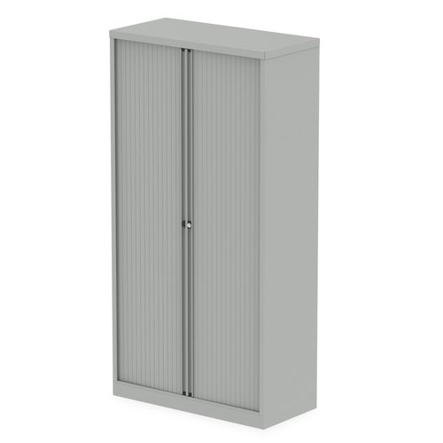 Qube by Bisley 2000mm Side Tambour Cupboard Goose Grey No Shelves