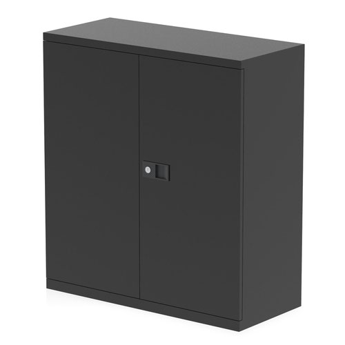 Qube by Bisley Stationery 1000mm 2-Door Cupboard Black With Shelf