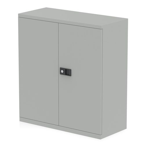 Qube by Bisley Stationery 1000mm 2-Door Cupboard Goose Grey With Shelf