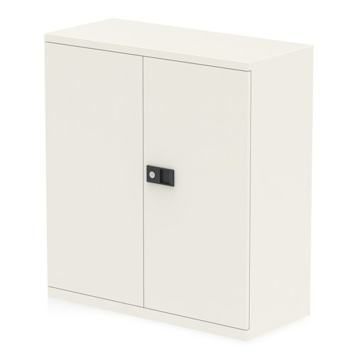 Qube by Bisley Stationery 1000mm 2-Door Cupboard Chalk White With Shelf