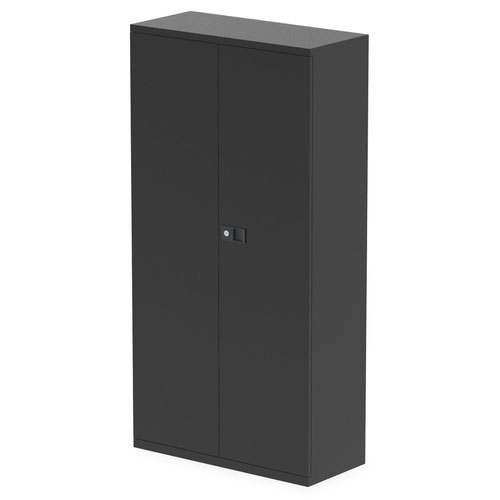 Qube by Bisley Stationery 1850mm 2-Door Cupboard Black With Shelves