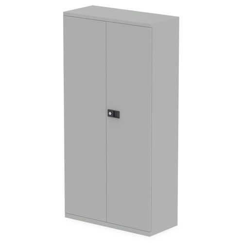 Qube by Bisley Stationery 1850mm 2-Door Cupboard Goose Grey With Shelves