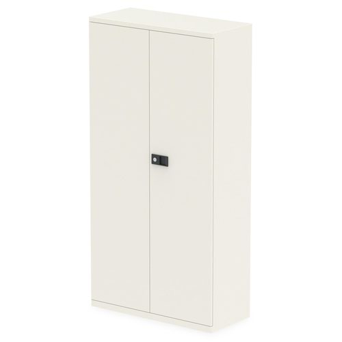 Qube by Bisley Stationery 1850mm 2-Door Cupboard Chalk White With Shelves
