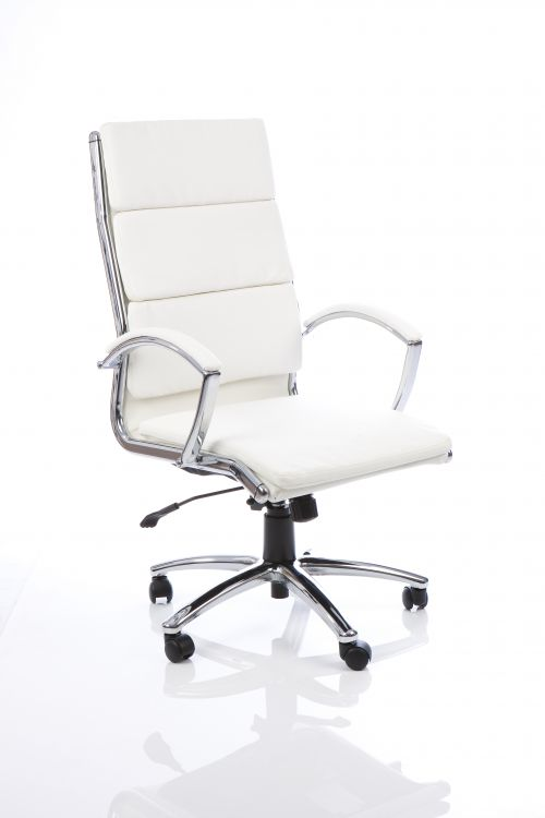 Classic Executive Chair High Back White With Arms