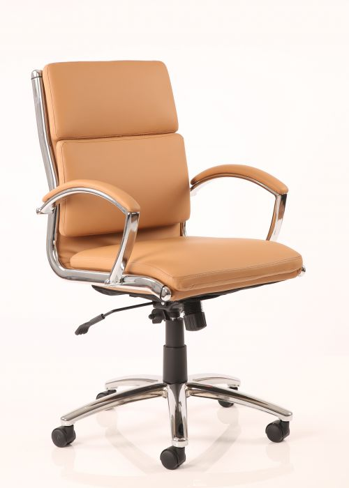 Classic Executive Chair Medium Back Tan With Arms