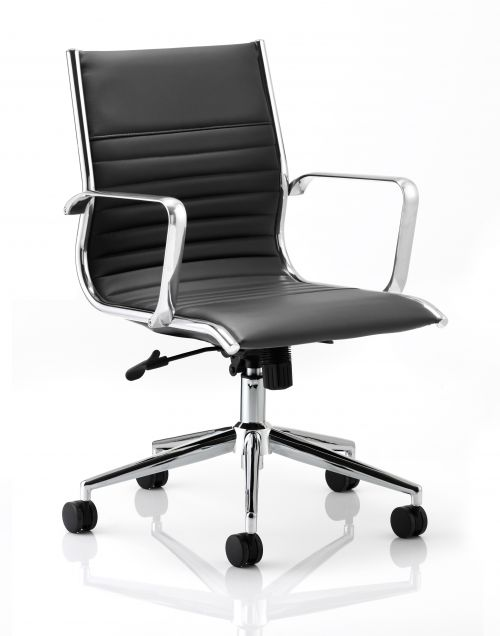 Ritz Executive Medium Back Chair Black Soft Bonded Leather With Arms EX000059