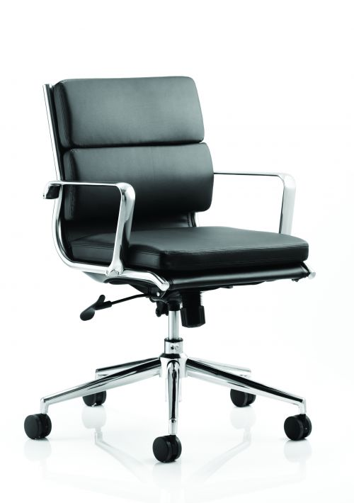 Savoy Executive Medium Back Chair Black Bonded Leather With Arms