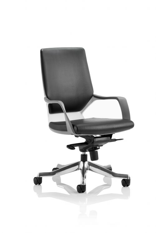 Xenon Executive Medium Back Chair White Shell Black Leather With Headrest EX000095