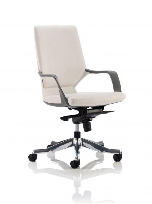 Xenon Executive Medium Back Chair White Shell White Leather With Headrest EX000099
