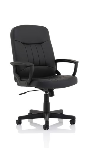Hague Executive Leather Chair Black with Fixed Arms EX000202