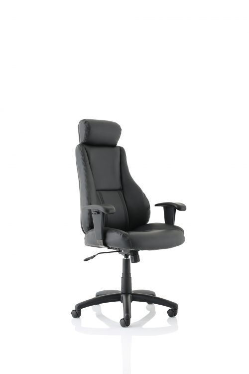 Winsor Black Leather Chair With Headrest
