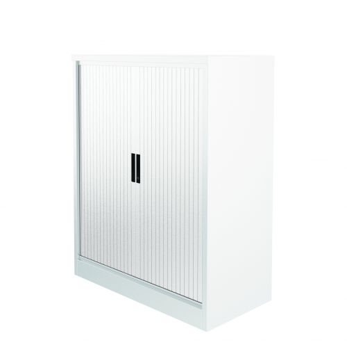 Graviti Plus Contract 1000mm Side Tambour Cupboard Chalky White No Shelves