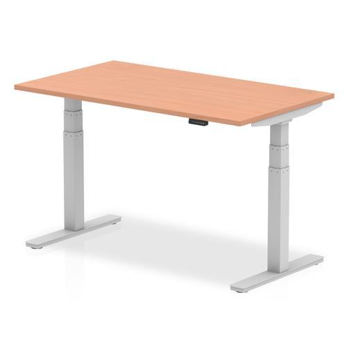 Air 1400 x 800mm Height Adjustable Desk Beech Top Silver Leg