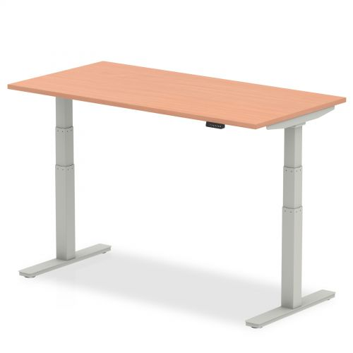 Air 1600/800 Beech Height Adjustable Desk With Silver Legs