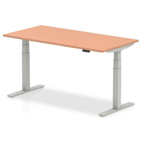 Air 1600 x 800mm Height Adjustable Desk Beech Top Silver Leg